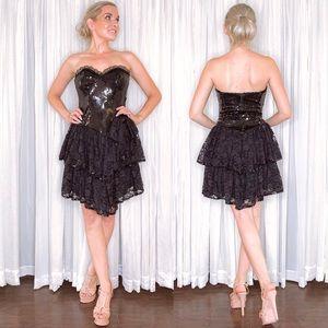 Vintage Black Sequin Lace Cocktail Dress